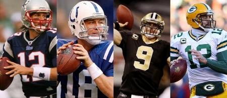 Quarterbacks - Tom Brady, Peyton Manning, Drew Brees e Aaron Rodgers