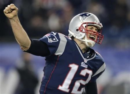 A efusiva celebração de Tom Brady após um touchdown