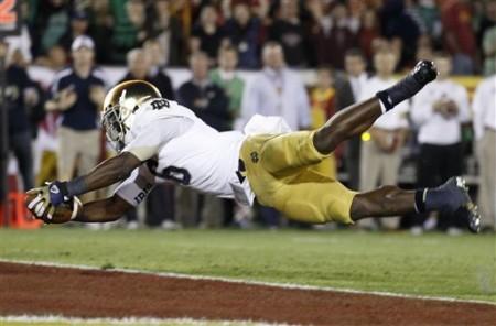 Momento de rara beleza, com Riddick a confirmar um TD para Notre Dame