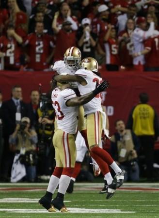 Festa final dos 49ers, celebrando a ida ao Super Bowl, 19 anos depois
