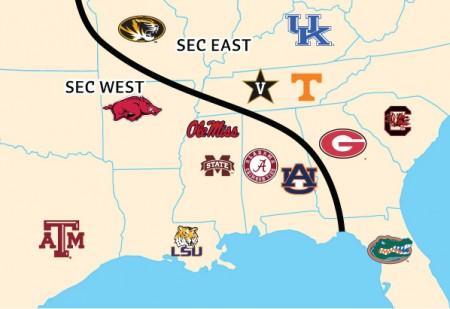 Mapa das equipas do SEC
