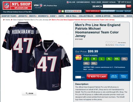 Erro da NFL Shop que colocou Hoomanawui ao invés de Hoomanawanui no nome na camisola quando o jogador se transferiu dos Rams para os Patriots em 2012