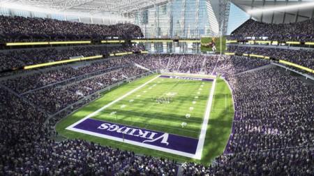 Uma vista de como será o interior do novo Estádio dos Minnesota Vikings
