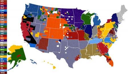Mapa da repartição dos adeptos da NFL