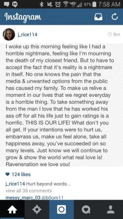 Post da mulher do Ray Rice no Instagram