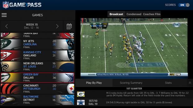 Ambiente do NFL Game Pass