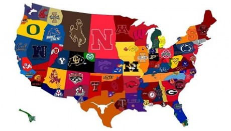 Mapa das Equipas College Football