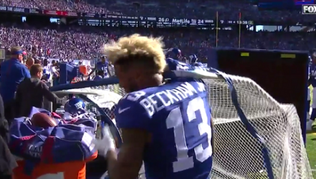 Odell Beckham Jr. kicking net